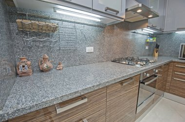 Kitchen interior design of luxury apartment