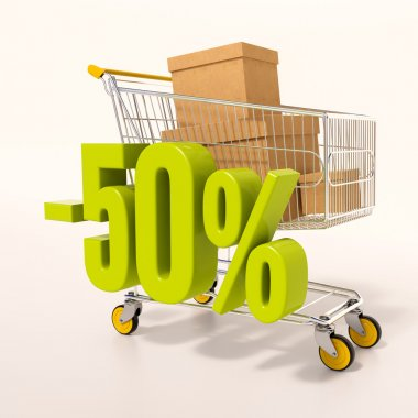 Shopping cart and percentage sign, 50 percent