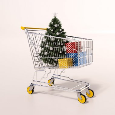Shopping cart full of purchases in packages and Christamas tree