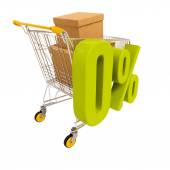 Photo Shopping cart and 0 percent isolated on white