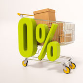 Photo Shopping cart and 0 percent
