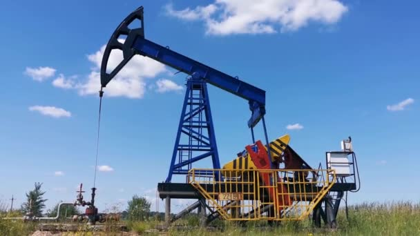 Oil Drilling Rig, Extraction of Oil, Pump Jack and Oil Wellhead, Industry Equipment Close Up, Oilfield, Oil Derrick