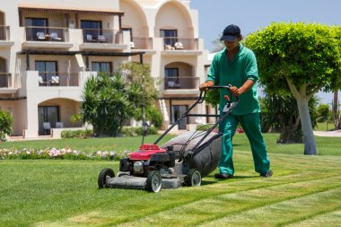 Male gardener cutting grass with lawn mower