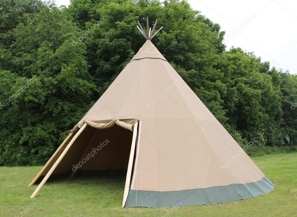 A Large Brown Canvas Wigwam Style Tent Shelter. u2014 Photo by daseaford & Wigwam Tent. u2014 Stock Photo © daseaford #81402496