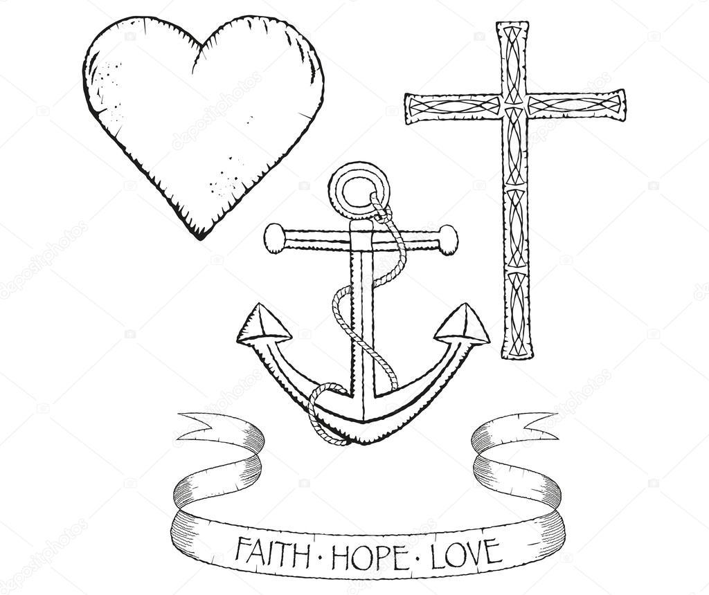 symbolen voor geloof hoop en liefde stockvector