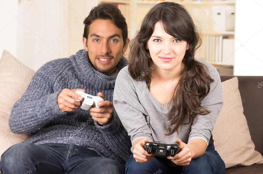 Young Cute Couple Playing Video Games Stock Photo C Pxhidalgo 59572433