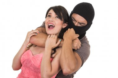 male thief strangling young girl
