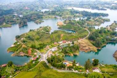 Aerial view of Guatape in Antioquia, Colombia
