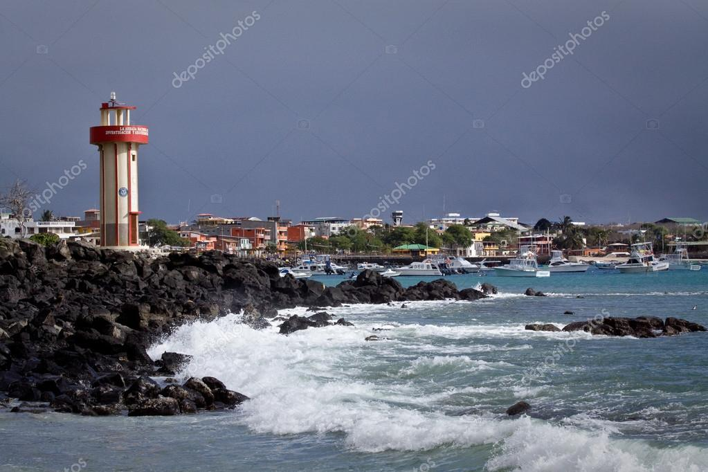 Beautiful coastland landscape of lighthouse in Mann Beach, San Cristobal, Galapagos Islands
