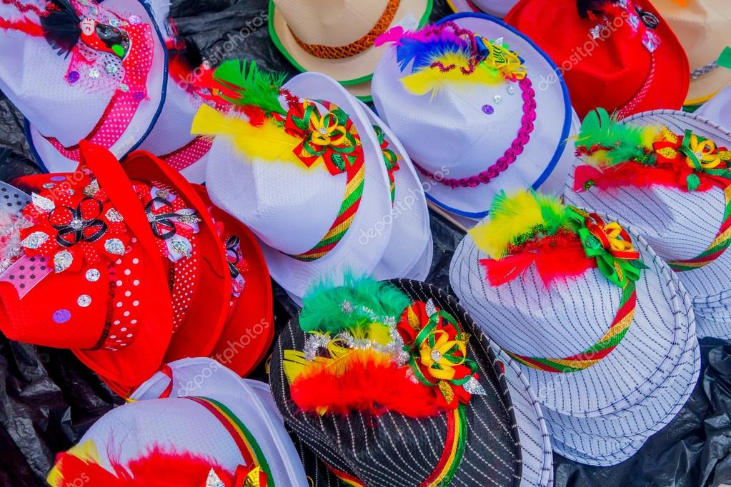 Traditional Colombian colorful straw hats from street vendors in Colombias most important folklore celebration, the Carnival of Barranquilla, Colombia