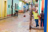 TRINIDAD, CUBA - SEPTEMBER 8, 2015:  Flooded streets in designated a World Heritage Site by UNESCO
