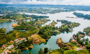 Colorful natural aerial view of Guatape in Antioquia, Colombia
