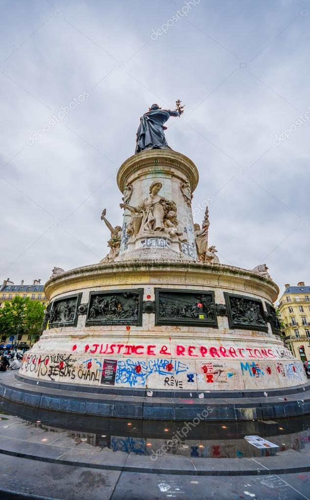 PARIS, FRANCE - JUNE 1, 2015 : Je suis Charlie graffiti in a plaza in Paris against the terrorist attack on Charlie hebdo journal.