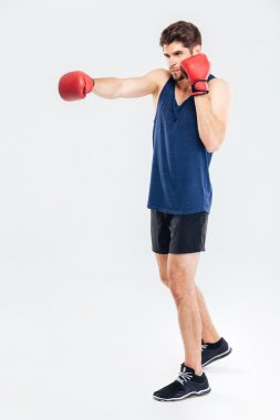 Full length portrait of a sportsman boxing in red gloves