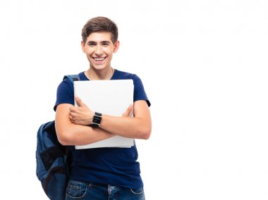 Smiling male student with backpack holding folders isolated on a white background. Looking at camera stock vector
