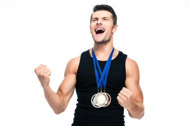 Fitness man with medals celebrating his success