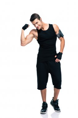 Happy fitness man showing his biceps