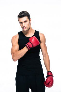 Handsome sports man with boxing gloves