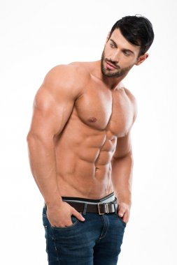 Handsome man with muscular body looking away
