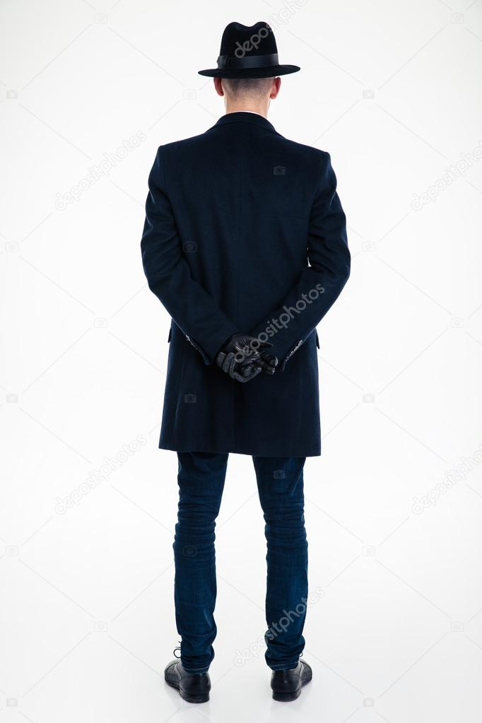 back view of business man in black clothes and hat ストック写真