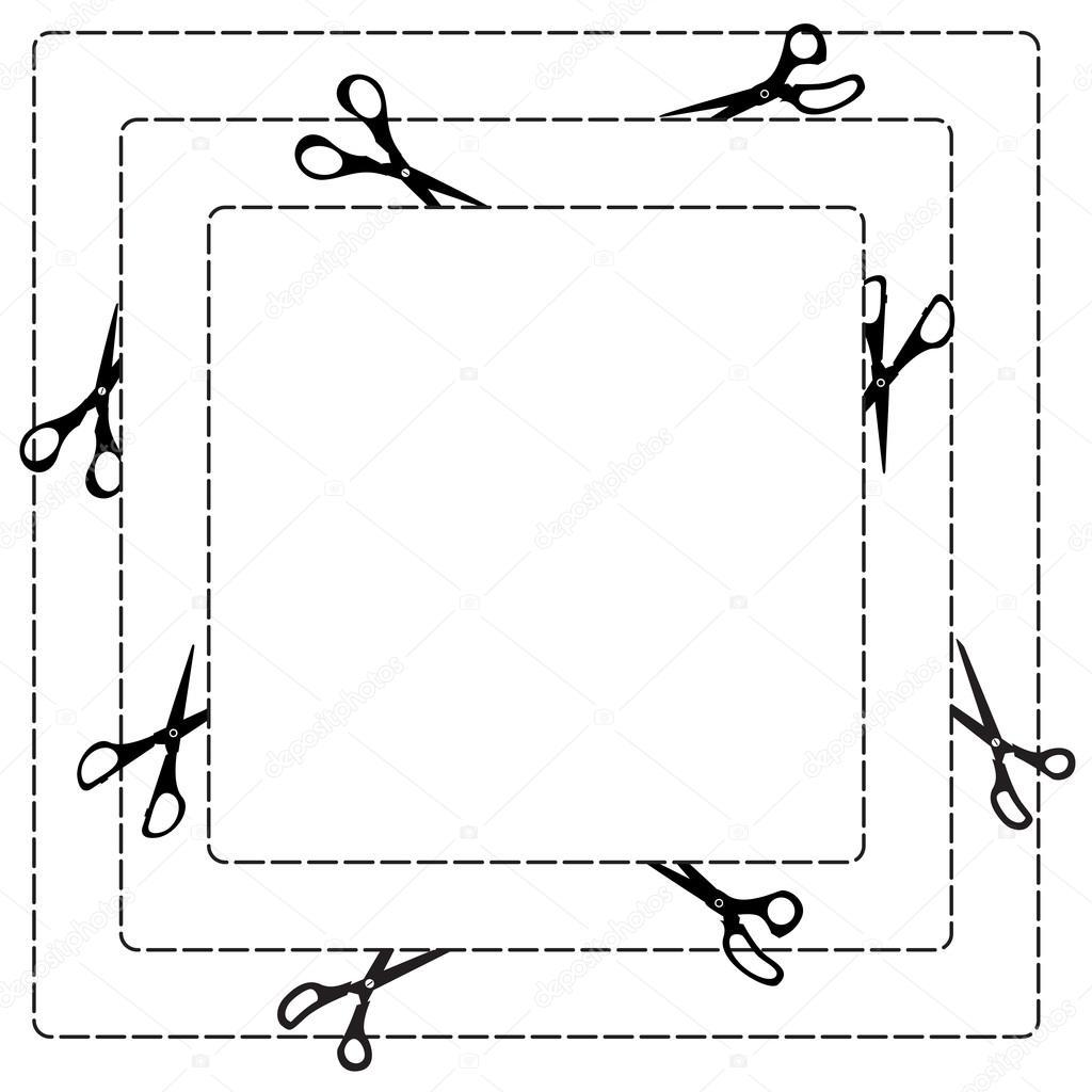 Marco cuadrado con tijera, línea de punto y papel cortado diseño ...
