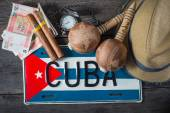 Fotografie Travel to Cuba concept of holiday related items