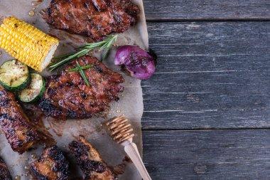 BBQ pork with honey glaze and veggies