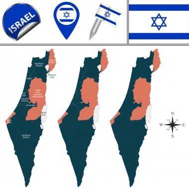 Map of Israel with named districts