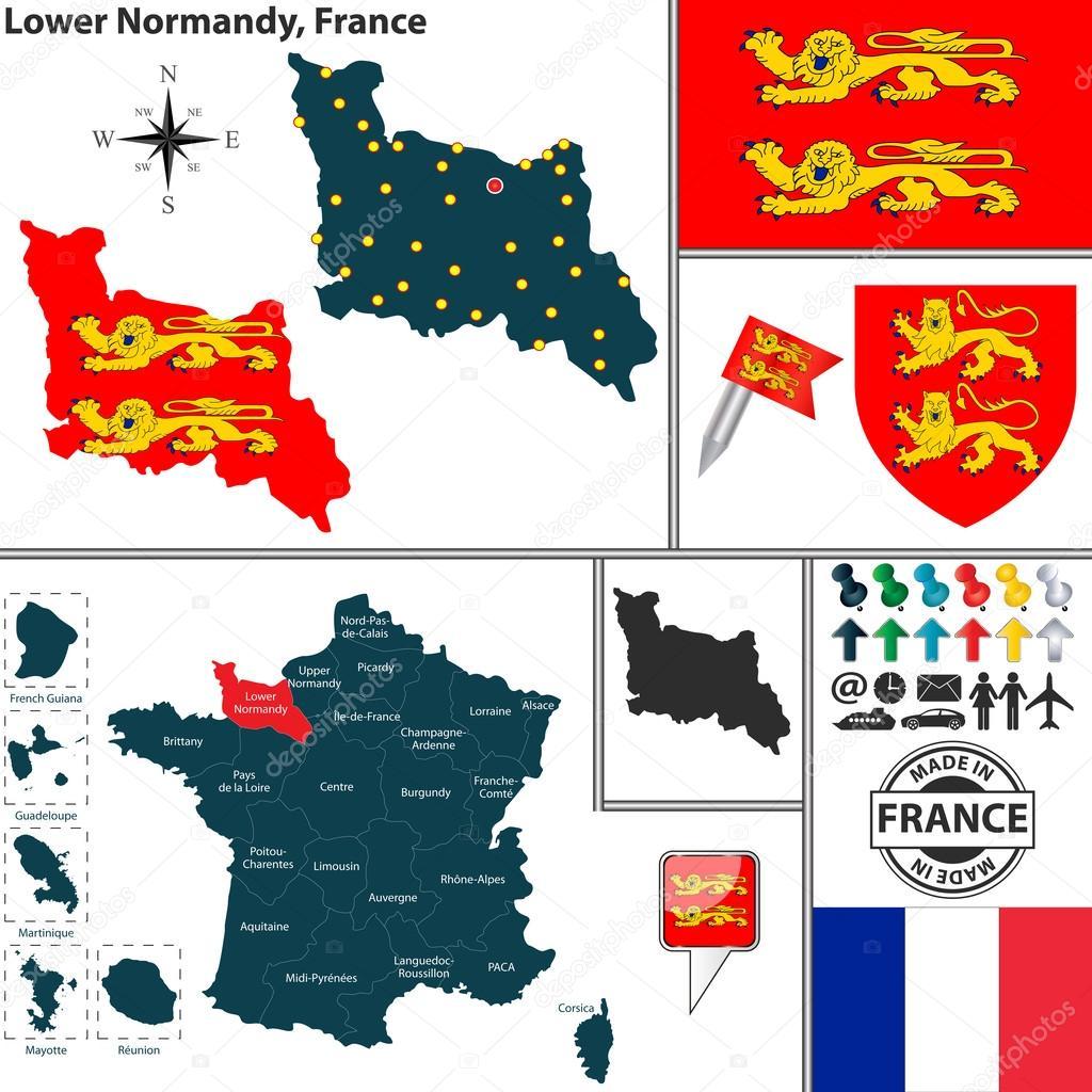 karta över frankrike normandie karta över Basse Normandie, Frankrike — Stock Vektor © sateda  karta över frankrike normandie