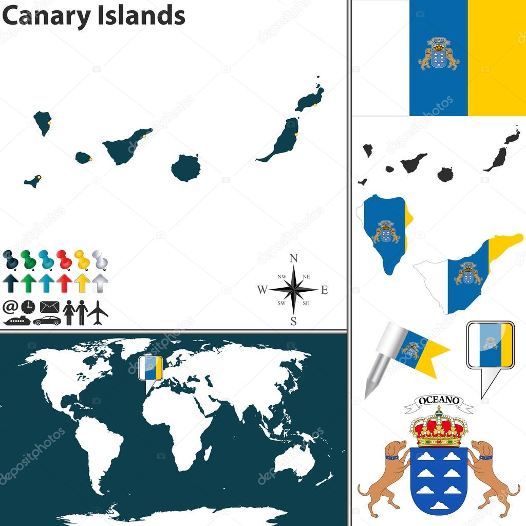 Map of canary islands stock vector sateda 53224021 vector map of canary islands with coat of arms and location on world map vector by sateda gumiabroncs Image collections