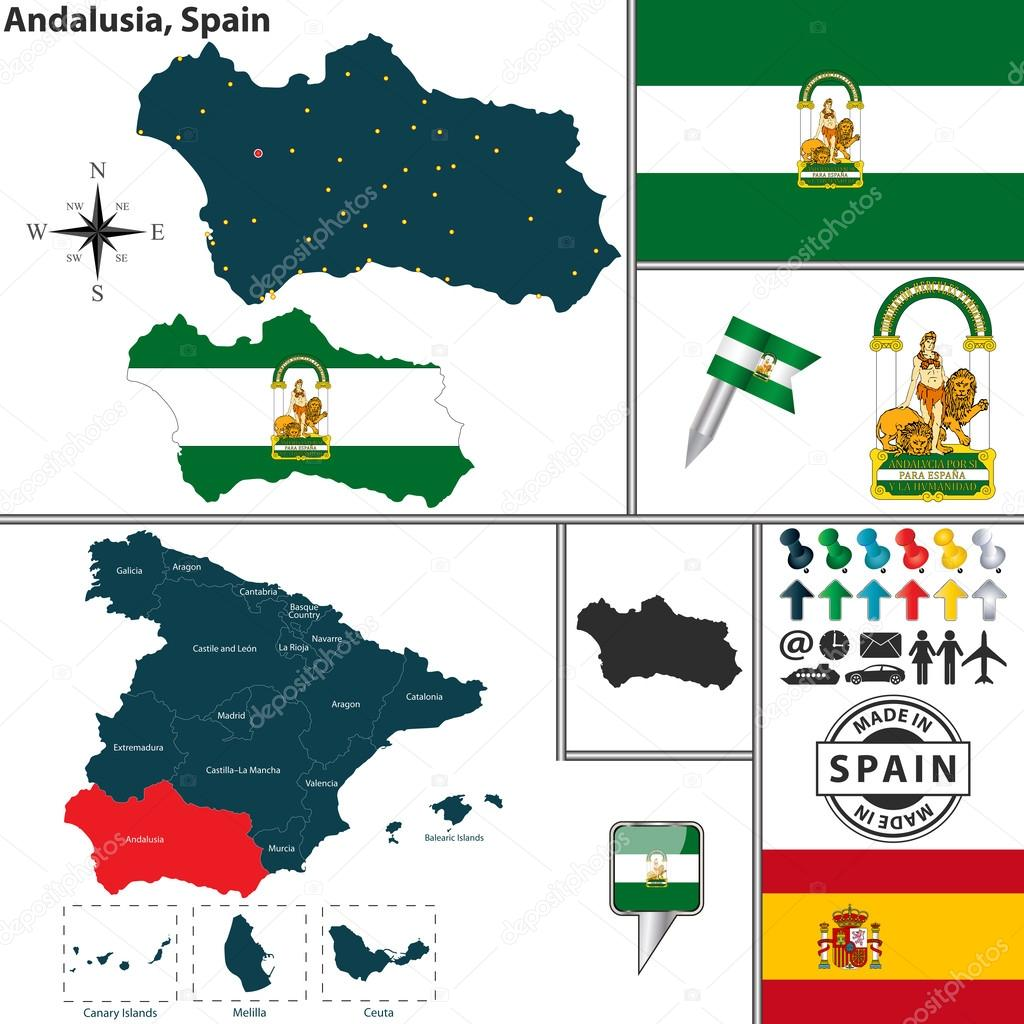 Map of Andalusia Spain Stock Vector sateda 54175041
