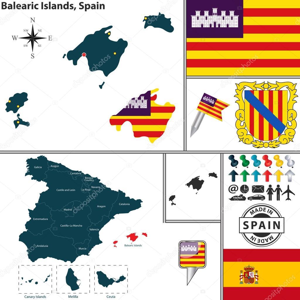Spanische Inseln Karte.Karte Von Balearische Inseln Spanien Stockvektor Sateda 54175051