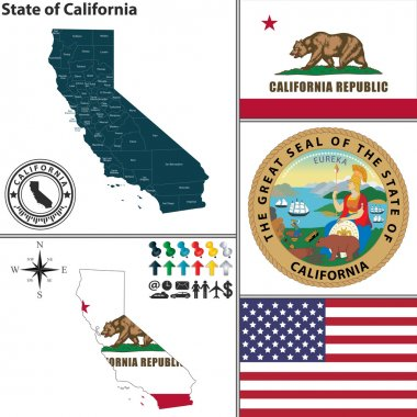 Vector set of California state with seal and icons on white background stock vector