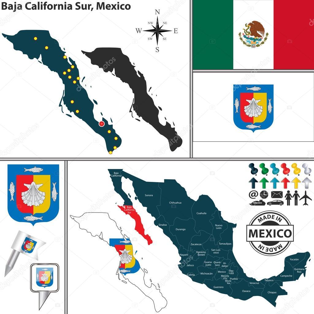 Baja California Map Mexico.Map Of Baja California Sur Mexico Stock Vector C Sateda 55880983