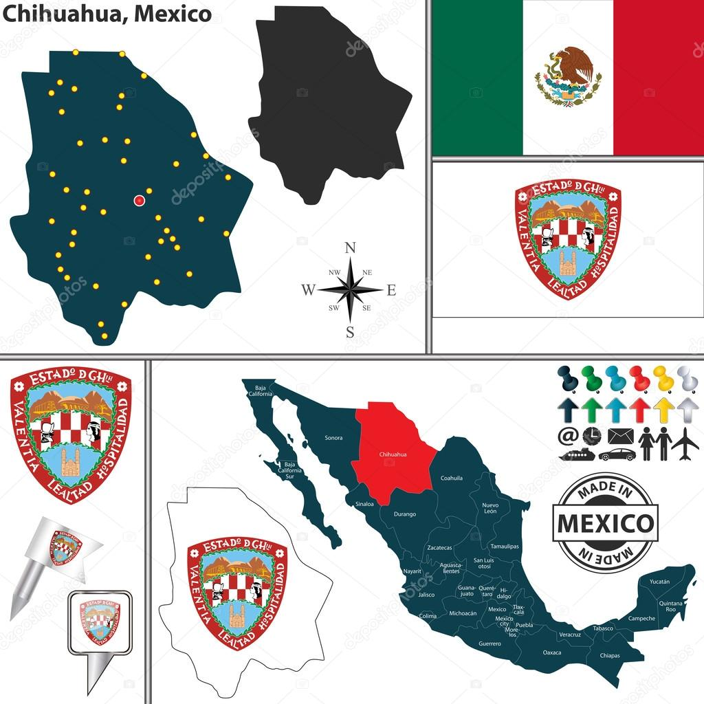 Map Of Chihuahua Mexico Stock Vector C Sateda 57636105