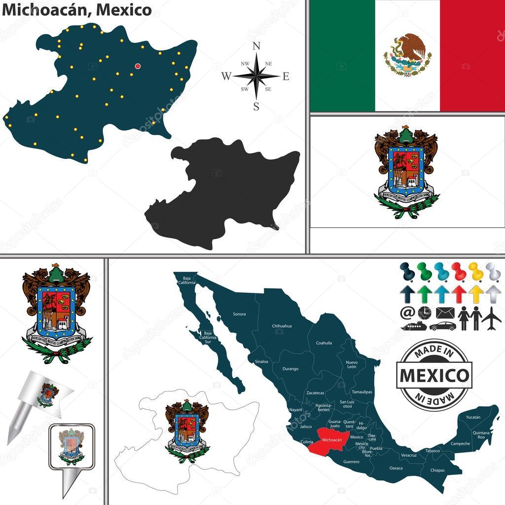 Map of Michoacan, Mexico — Stock Vector © sateda #60184917