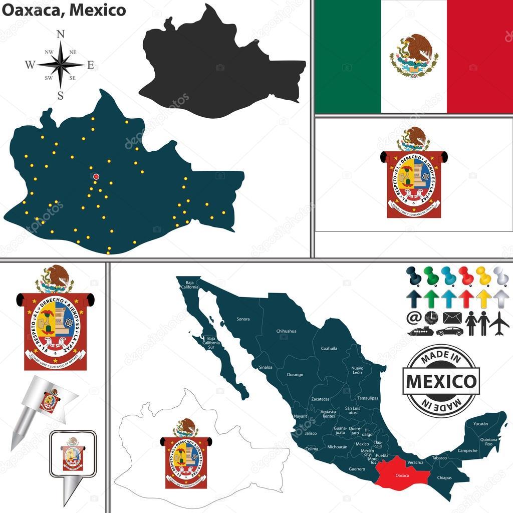 map of oaxaca mexico stock vector