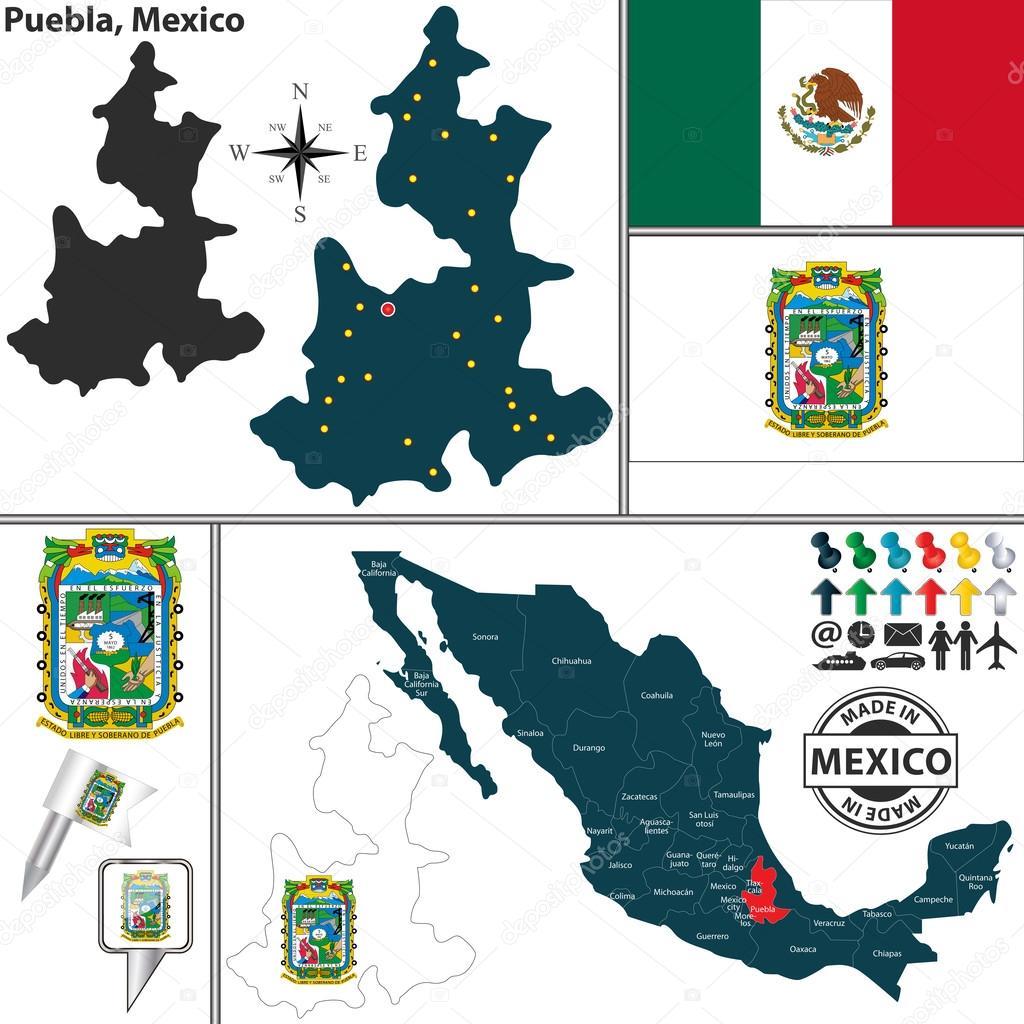 Map Of Puebla Mexico Stock Vector C Sateda 60701439