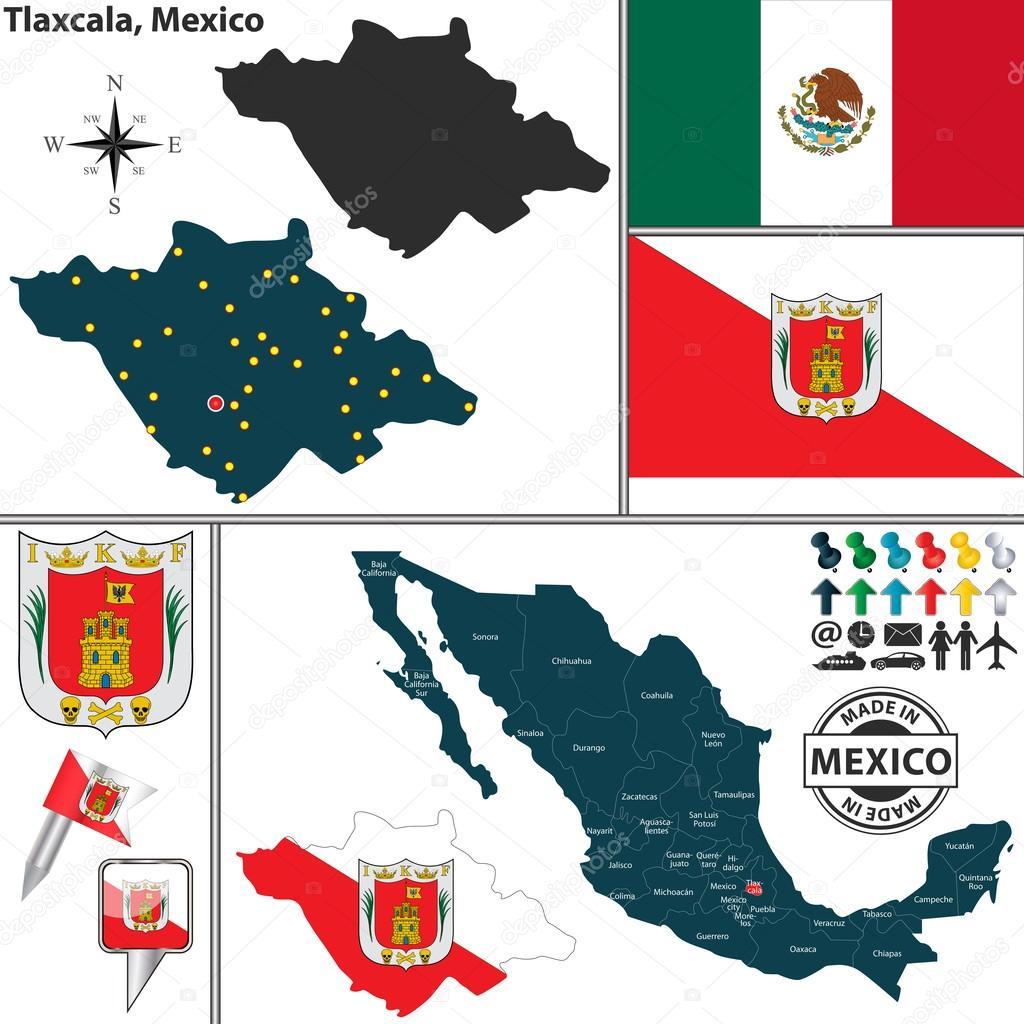 Map Of Tlaxcala Mexico Stock Vector C Sateda 61441317