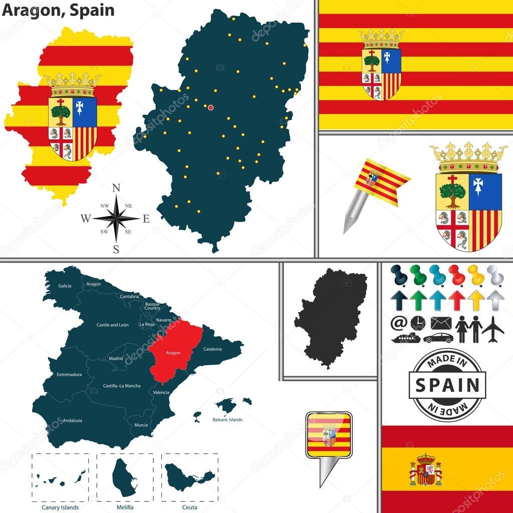 Map Of Aragon Spain Stock Vector C Sateda 63723887