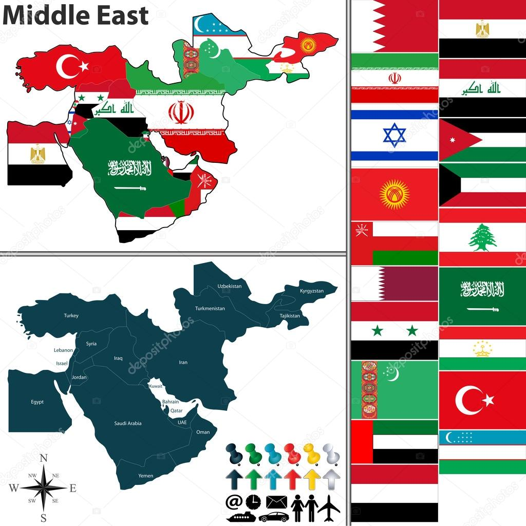 Political map of Middle East Stock Vector sateda 63723957