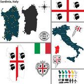 Fotografia Mappa di Sardegna, Italia