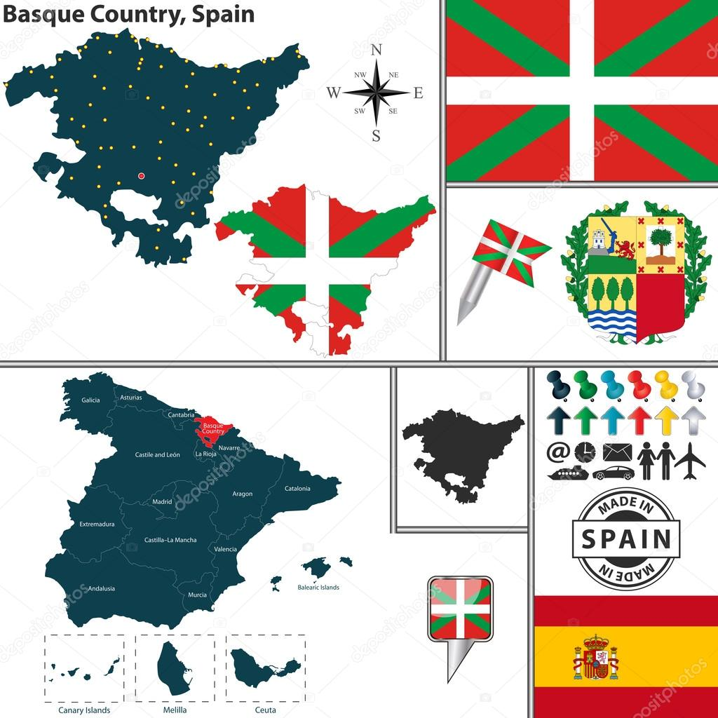 Map of Basque Country Spain Stock Vector sateda 64322419