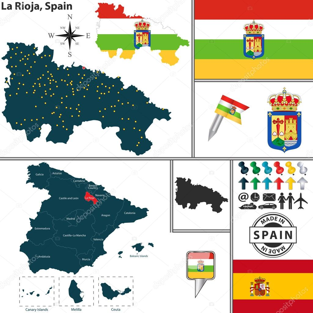 Map of La Rioja Spain Stock Vector sateda 64322957