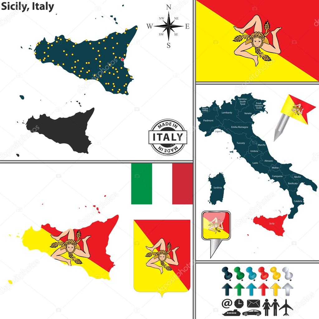 Map of Sicily Italy Stock Vector sateda 64323221