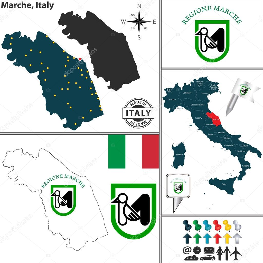 Map of Marche Italy Stock Vector sateda 64889085