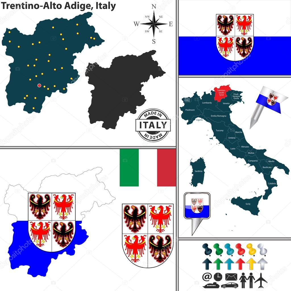 Map of TrentinoAlto Adige Italy Stock Vector sateda 64889157