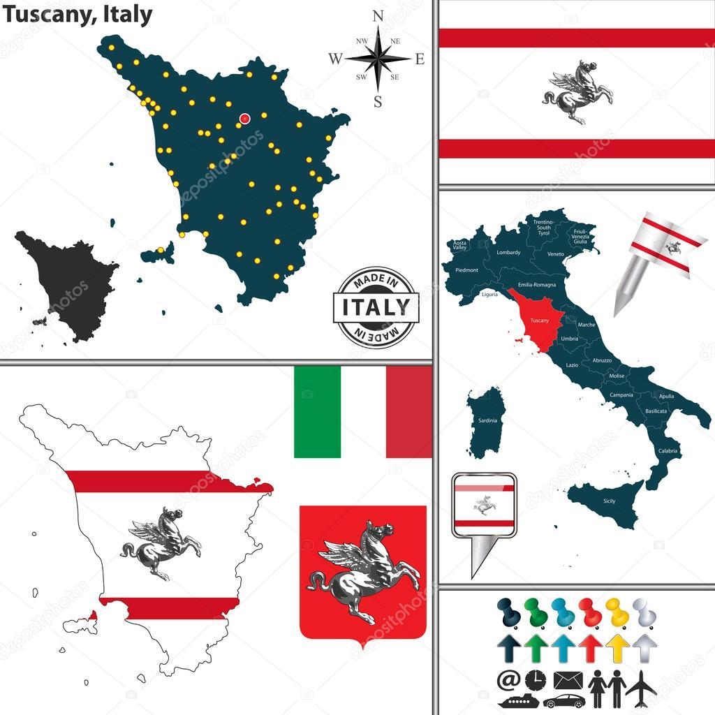Map of Tuscany, Italy — Stock Vector © sateda #65494961