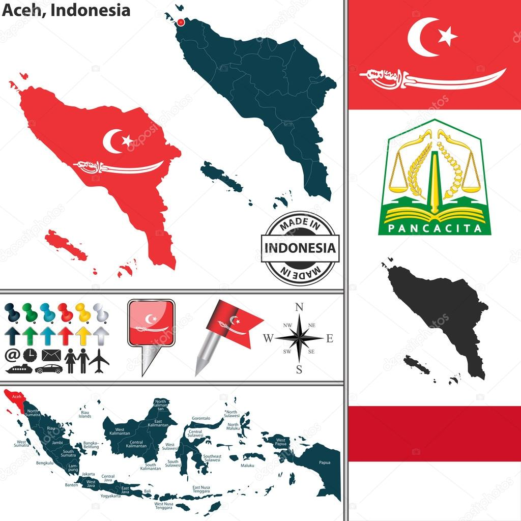 Map of Aceh, Indonesia