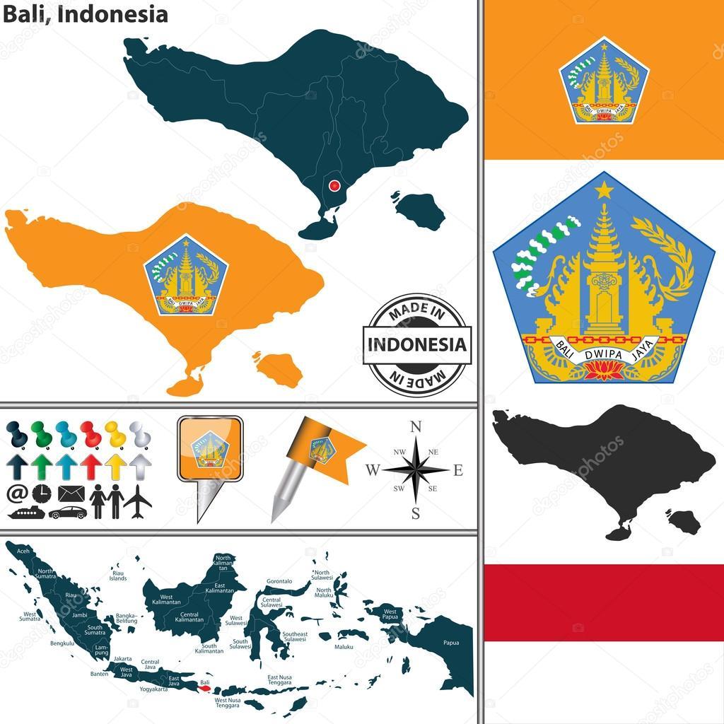 Map Of Bali Indonesia Stock Vector C Sateda 69455059